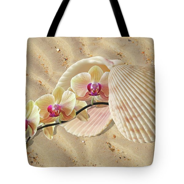 Orchids And Shells On The Beach Tote Bag by Gill Billington
