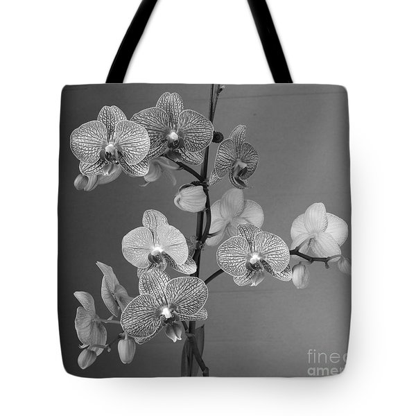 Orchids Black And White Tote Bag by Jeanette French