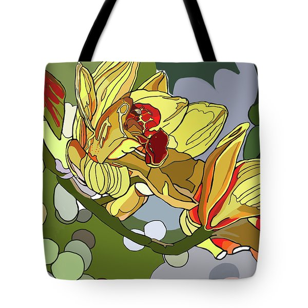 Orchids In Sunlight Tote Bag by Jamie Downs