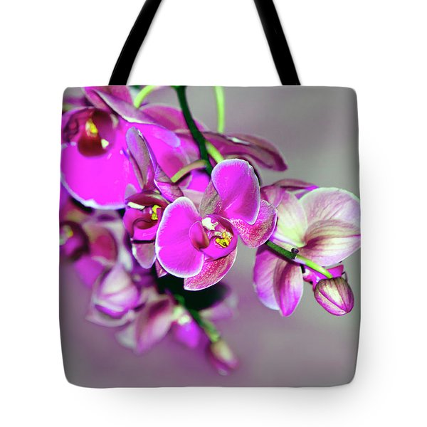 Orchids On Gray Tote Bag by Ann Bridges