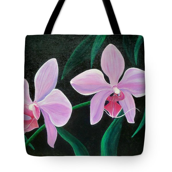Tote Bag featuring the painting Orchids by Susan DeLain