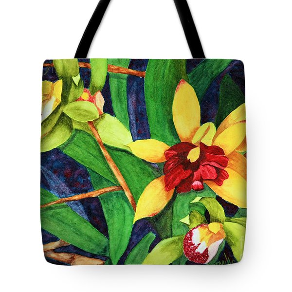 Tote Bag featuring the painting Orchids by Terri Mills