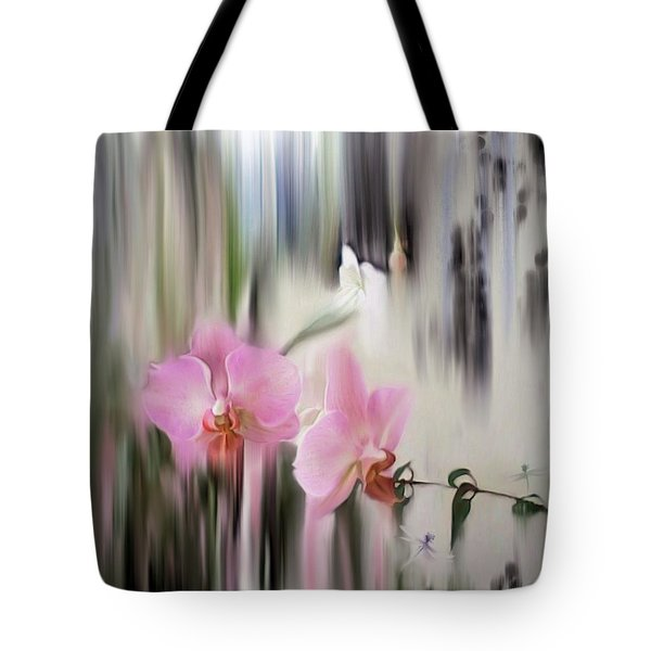 Orchids With Dragonflies Tote Bag