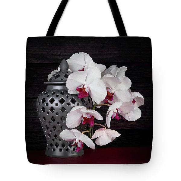 Orchids With Gray Ginger Jar Tote Bag