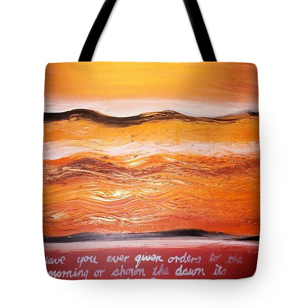 Tote Bag featuring the painting Orders To The Morning by Winsome Gunning