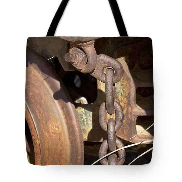 Tote Bag featuring the photograph Ore Car Chain by Phyllis Denton