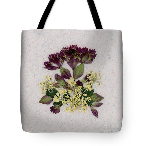 Oregano Florets And Leaves Pressed Flower Design Tote Bag