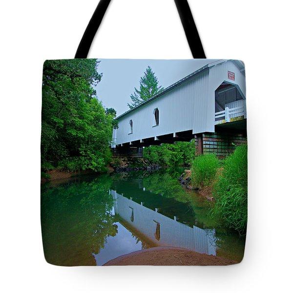 Oregon Covered Bridge Tote Bag by Sean Sarsfield