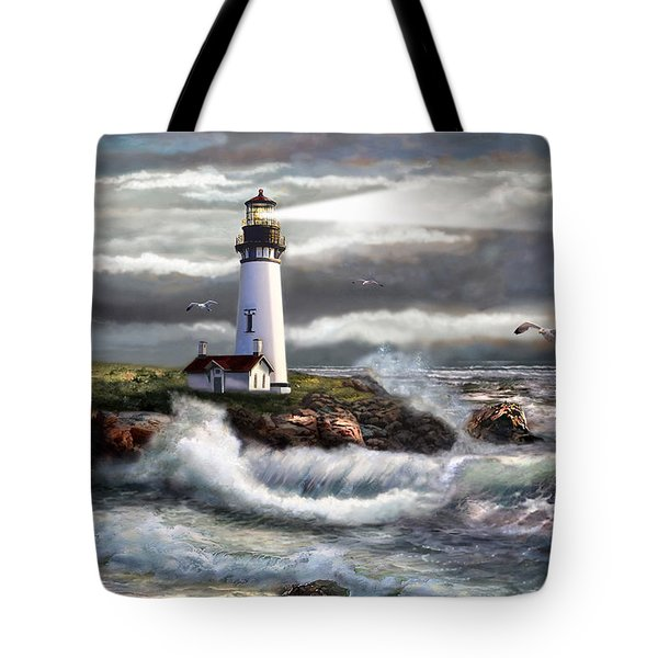 Oregon Lighthouse Beam Of Hope Tote Bag