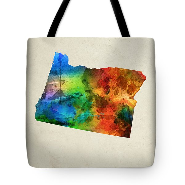 Oregon State Map 03 Tote Bag by Aged Pixel