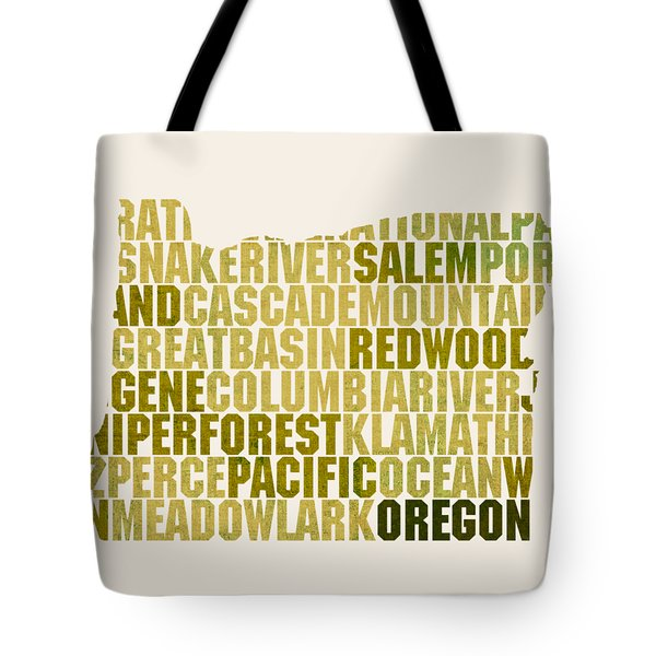 Oregon State Outline Word Map Tote Bag by Design Turnpike