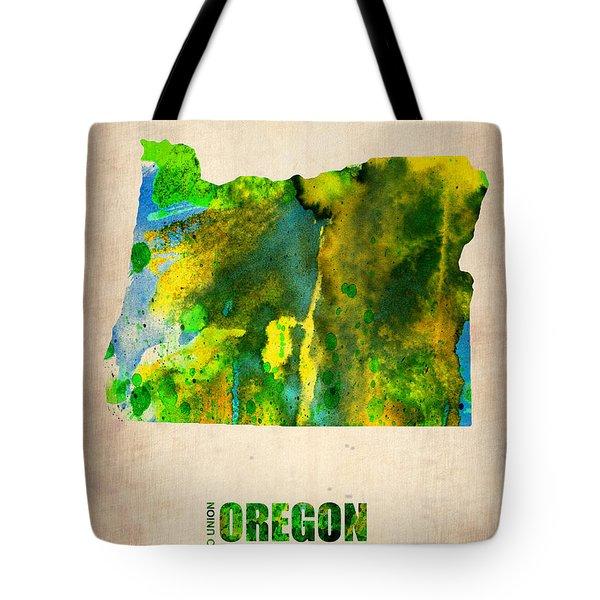 Oregon Watercolor Map Tote Bag by Naxart Studio