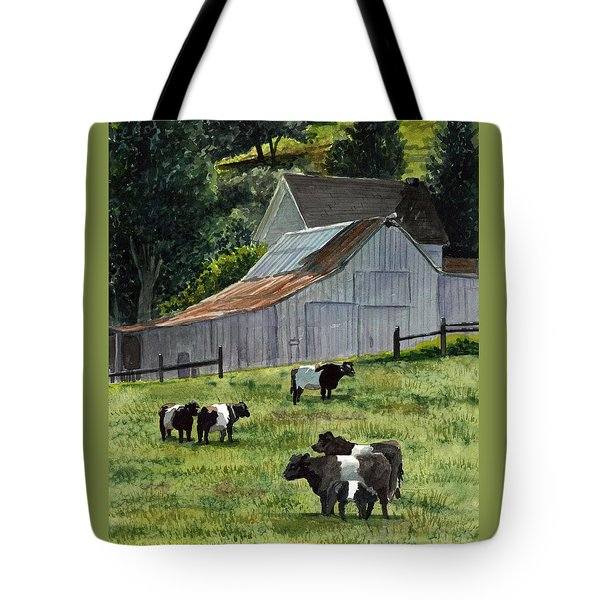 Tote Bag featuring the painting Oreo Cows In Napa by Gail Chandler