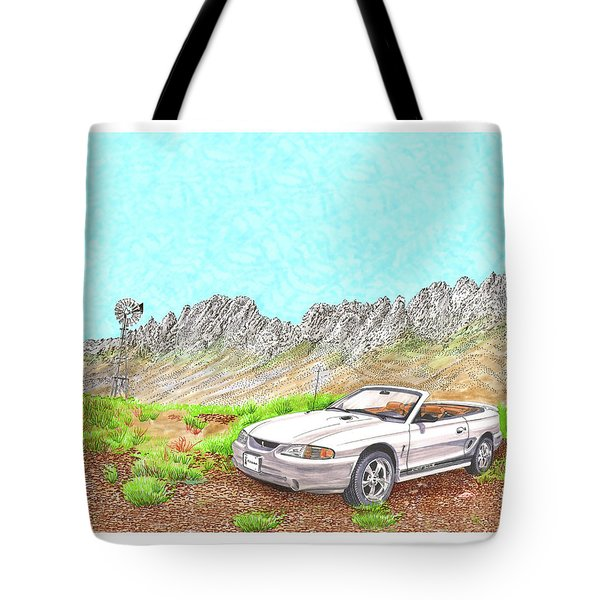 Tote Bag featuring the painting Organ Mountain Mustang by Jack Pumphrey