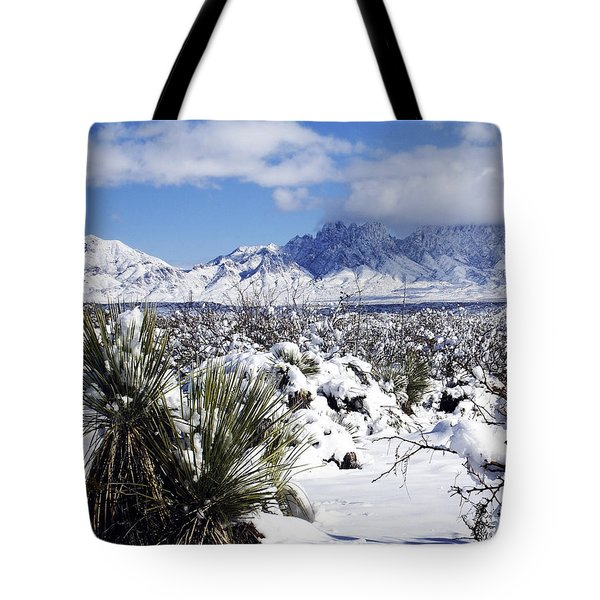Tote Bag featuring the photograph Winter's Blanket Organ Mountains by Kurt Van Wagner