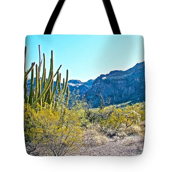 Organ Pipe Cactus In Arch Canyon In Organ Pipe Cactus National Monument-arizona  Tote Bag by Ruth Hager