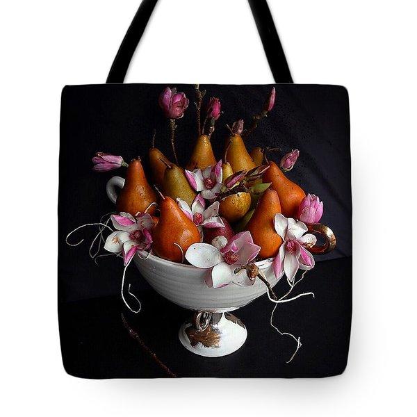 Organic Bosc Pears And Magnolia Blossoms Tote Bag