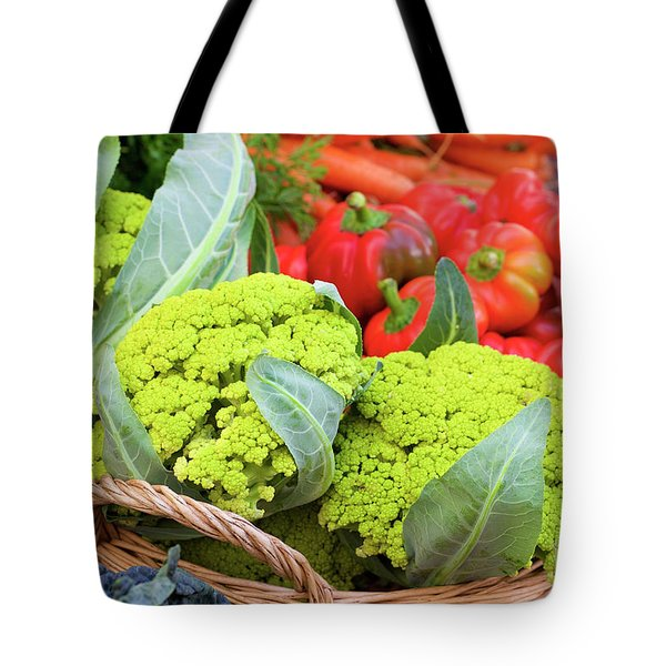 Organic Green Cauliflower At The Farmer's Market Tote Bag