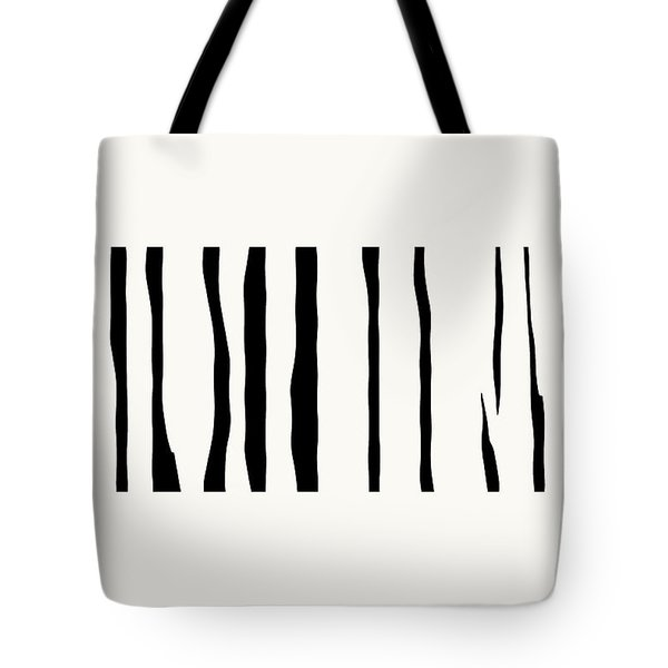 Tote Bag featuring the digital art Organic No 12 Black And White Line Abstract by Menega Sabidussi