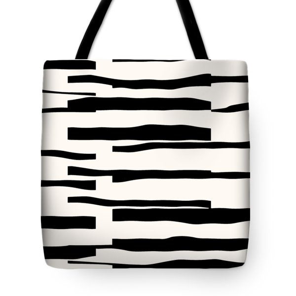 Tote Bag featuring the digital art Organic No 13 Black And White Line Abstract by Menega Sabidussi