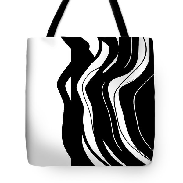 Tote Bag featuring the digital art Organic No 5 Black And White by Menega Sabidussi