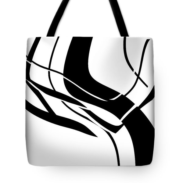 Tote Bag featuring the digital art Organic No 7 Black And White Abstract by Menega Sabidussi