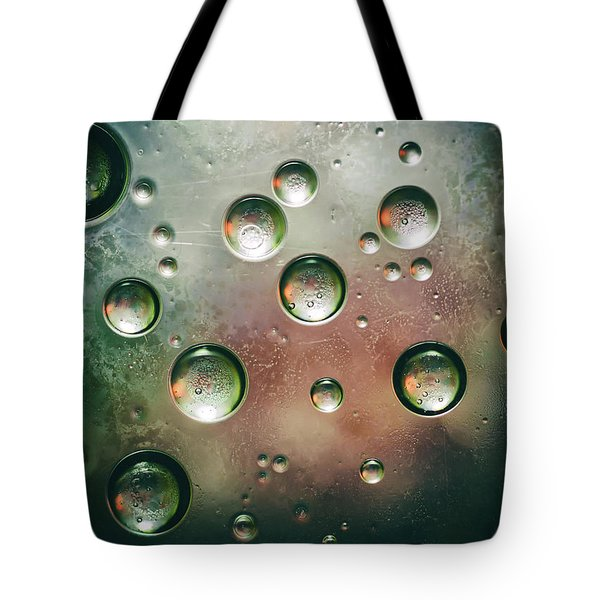 Tote Bag featuring the photograph Organic Silver Oil Bubble Abstract by John Williams