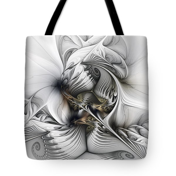 Tote Bag featuring the digital art Organic Spiral Tower Construction by Karin Kuhlmann