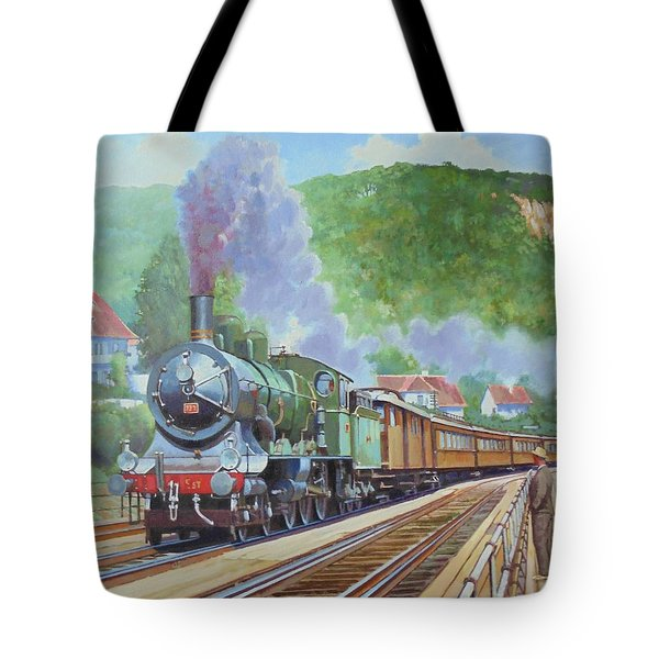Tote Bag featuring the painting Orient Express 1920 by Mike Jeffries
