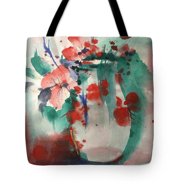 Oriental Brush Flowers And Vase Tote Bag