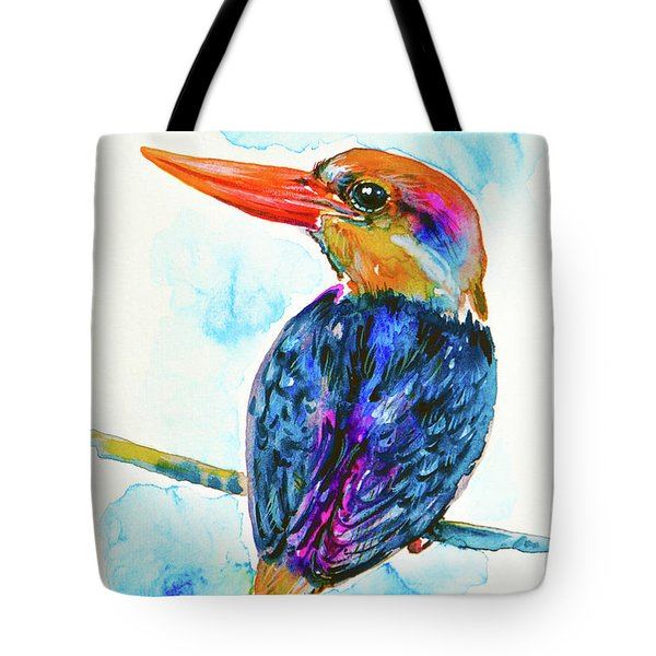 Tote Bag featuring the painting Oriental Dwarf Kingfisher by Zaira Dzhaubaeva