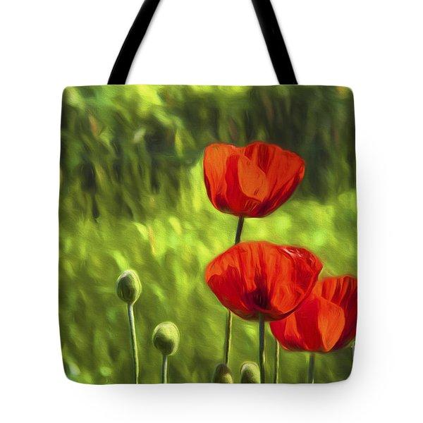 Oriental Poppies Tote Bag