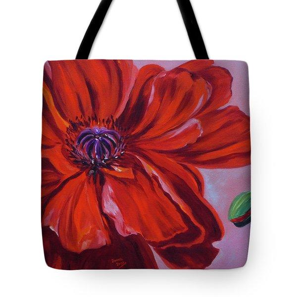 Oriental Poppy With Bud Tote Bag