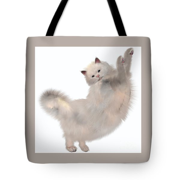 Oriental White Cat Tote Bag by Corey Ford