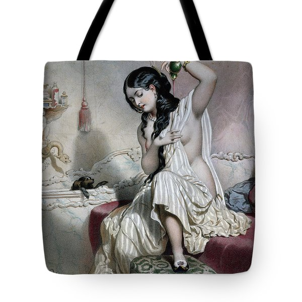 Oriental Woman At Her Toilet Tote Bag by French School