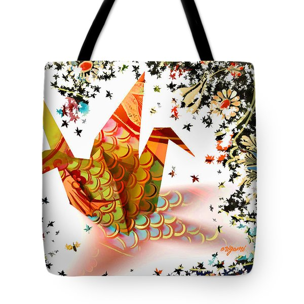 Tote Bag featuring the digital art Origami 2017 by Kathryn Strick