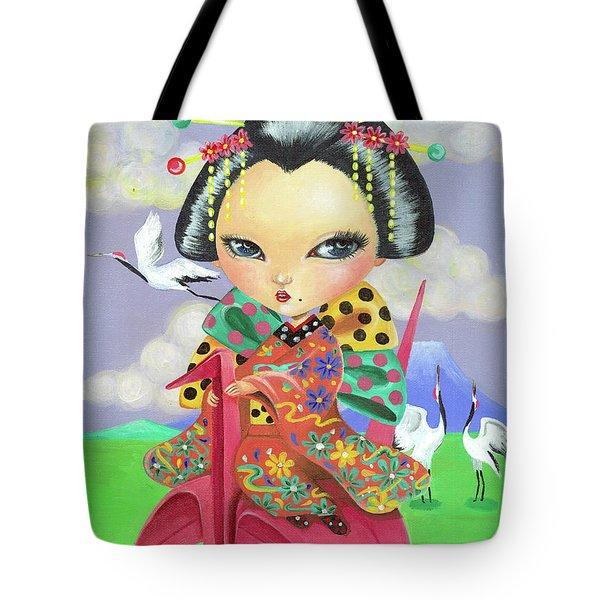 Origami Girl Tote Bag
