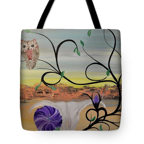 Original Acrylic Artwork By Mimi Stirn - Hoomasters Collection -hooo'keeffe #415 Tote Bag