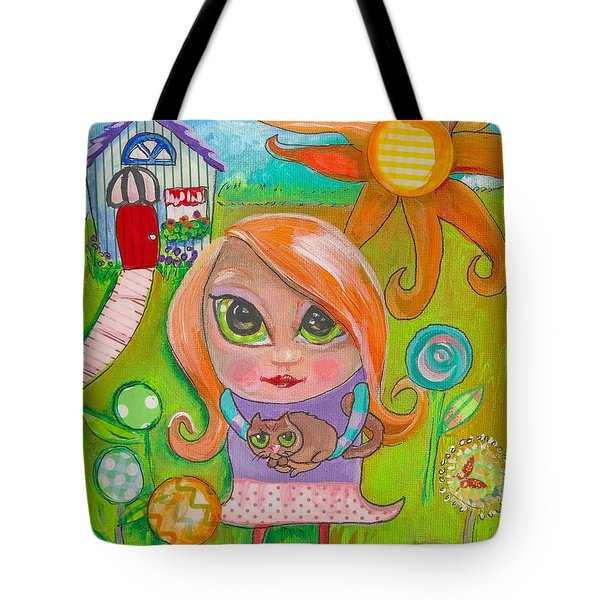 Original Art Girl And The Cat -with Flowers Tote Bag
