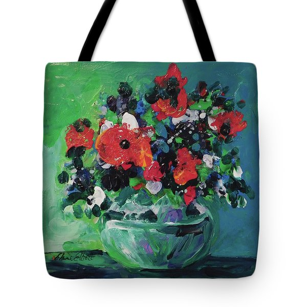Original Bouquetaday Floral Painting By Elaine Elliott, Blues And Greens, 12x12, 59.00 Incl. Shippin Tote Bag