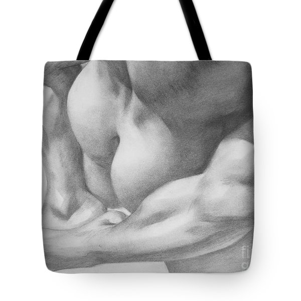Original Charcoal Drawing Art Gay Interest Men  On Paper #16-3-11 Tote Bag by Hongtao Huang