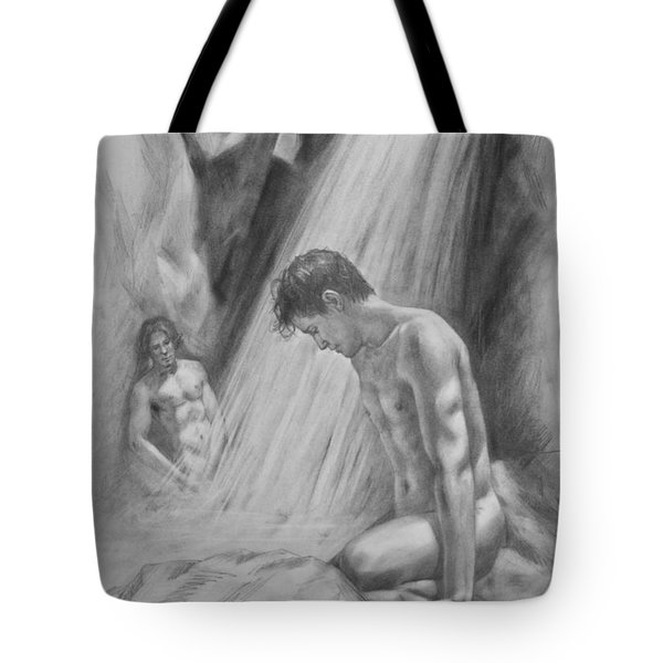 Original Charcoal Drawing Art Male Nude By Twaterfall On Paper #16-3-11-16 Tote Bag