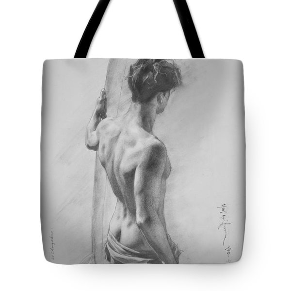 Original Charcoal Drawing Art Male Nude  On Paper #16-3-11-12 Tote Bag