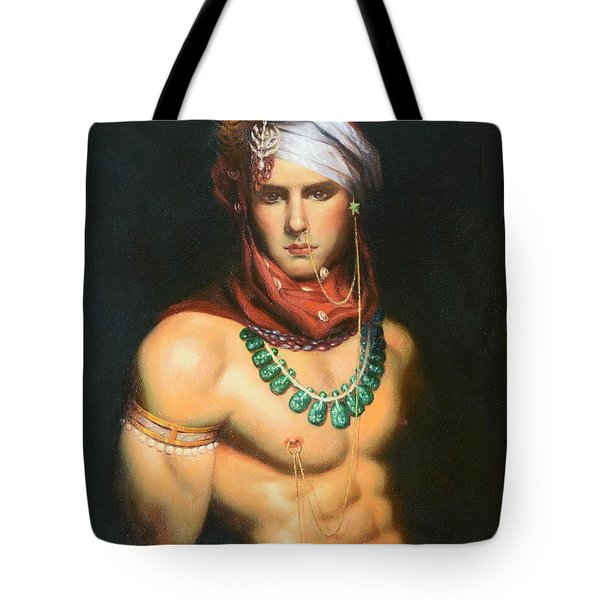 Original Classic Oil Painting Man Body Art-male Nude -068 Tote Bag