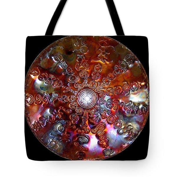 Tote Bag featuring the digital art Original Copper Lightmandala Antares Radial Matrix by Robert Thalmeier