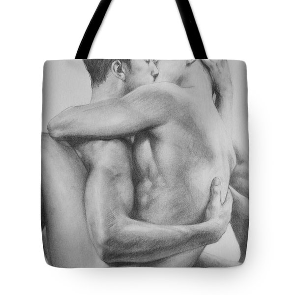 Original Drawing Sketch Charcoal   Male Nude Gay Interest Man Art Pencil On Paper -0034 Tote Bag