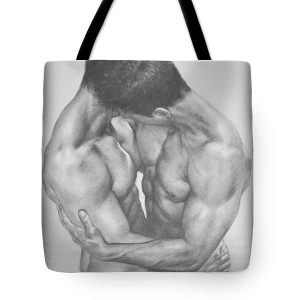 Original Drawing Sketch Charcoal  Male Nude Gay Interest Man Art Pencil On Paper -0041 Tote Bag