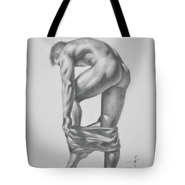 Original Drawing Sketch Charcoal Pencil Gay Interest Man Art  On Paper #11-17-14 Tote Bag