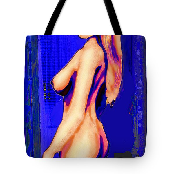 Original Fine Art Nude Jess Standing Oil Acrylic Sketch Colorized Tote Bag