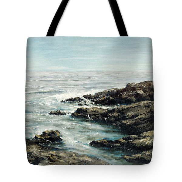 Original Fine Art Painting Bass Rocks Massachusetts Tote Bag